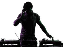 Disc jockey man silhouette Stock Photo