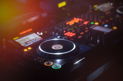 Disc Jockey mixing deck and turntables Royalty Free Stock Photo