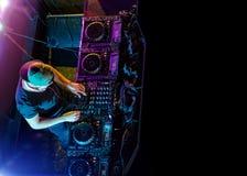 Disc jockey mixing electronic music in club Royalty Free Stock Photos