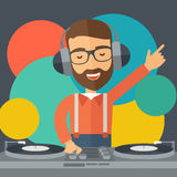 Disc jockey mixing music. Royalty Free Stock Photography