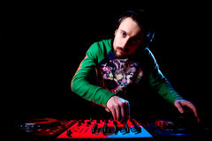 Disc jockey mixing music Royalty Free Stock Photography