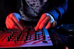 Disc jockey mixing music Royalty Free Stock Images