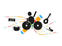 Disc jockey mixing music party. Logo and icon Stock Image