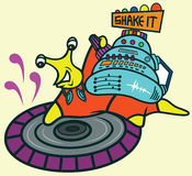 Disc Jockey Snail Cartoon Stock Images