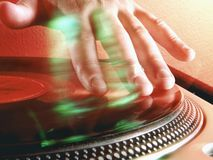 Disc Jockey at work. Royalty Free Stock Photo