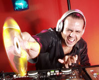 Disc Jockey at work. Royalty Free Stock Photography
