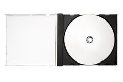 Disc Labeling – Open Disc Case w/ Path. Blank Disc in an open case. File contains clipping path Stock Photography