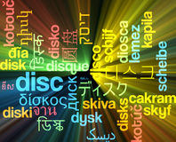 Disc multilanguage wordcloud background concept glowing Royalty Free Stock Image