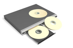 Disc player with golden discs Royalty Free Stock Image