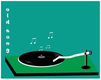 Disc Players - Cassettes & Dishes. Classical instruments, disc player cassettes, mixing green, black, and white-  illustration Royalty Free Stock Images