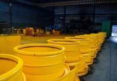 Disc rim production site for BelAZ dump trucks in the forge factory. stock photos