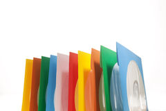 Disc sleeves. Multiple disc sleeves, standing on a clean background with a disc showing in the first window Stock Images