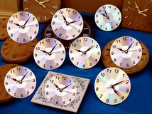 Disc Time. CD Clocks Royalty Free Stock Photos