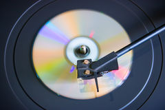 Disc on a turntable top view selective focus Royalty Free Stock Images