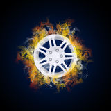 Disc from wheel in the colored smoke Royalty Free Stock Photo