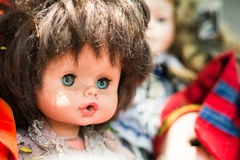 Discard old baby doll. Close up discard old baby doll Stock Photography