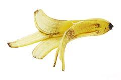 Discarded banana skin. On white background stock photos