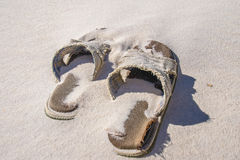 Discarded Beach Sandals4 Royalty Free Stock Photo