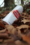 Discarded Beer Can in the Forest royalty free stock photo