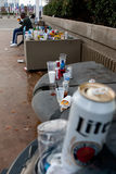Discarded Beer Cans And Bottles Pile Up Outside Stadium Stock Image
