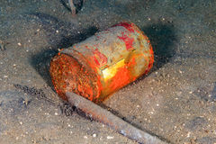Discarded can on the seabed Stock Photography