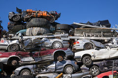 Discarded Cars Stacked at Junk Yard Stock Image