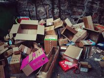 Free Discarded Cartons Against Wall In Wuhan City Royalty Free Stock Images - 198795759