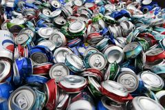 Discarded Crushed Aluminum Cans, Scrap Metal Recycling Royalty Free Stock Images