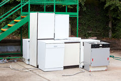 Discarded Dishwashers at local recycling center Royalty Free Stock Photography