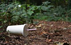 Discarded drinks container lying at the edge of a forest track. A discarded drink or soda container with plastic straw lies at the edge of a forest track stock photos