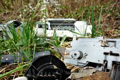 Discarded electronic. Appliances free standing in nature royalty free stock photography