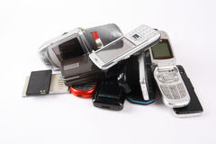 Discarded mobile phone. A pile of discarded mobile phones with white background royalty free stock images
