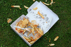 Discarded part eaten tray of fast food. Royalty Free Stock Image