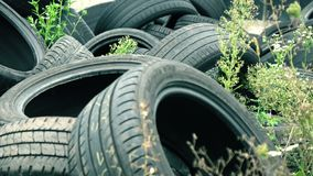 Discarded Tires at a Dump. Discarded Pile of Black Tires at a Dump stock video