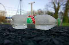 Discarded Plastic Bottle of Abbey Well Spring Water royalty free stock photos