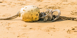 Discarded rope with float devise. Left on sandy beach Royalty Free Stock Photos