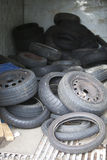 Discarded Rubber Tyres at local recycling center Stock Photo