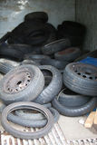 Discarded Rubber Tyres at local recycling center Stock Photography