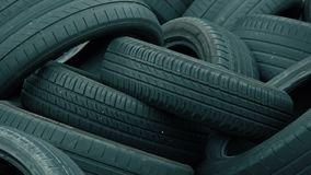 Discarded Tires at a Dump. Discarded Pile of Black Tires at a Dump stock footage