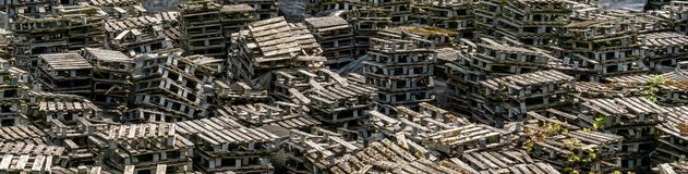 Discarded wooden pallets. Background banner image royalty free stock image