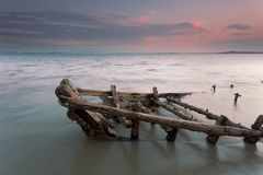 Discarded wooden ship feature Royalty Free Stock Photo