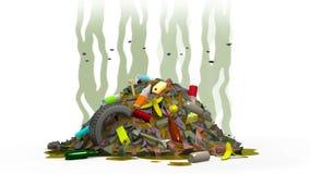 Discarica con le mosche animazione 3D nello stile del fumetto Alfa canale, loopable illustrazione vettoriale
