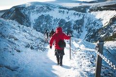 Discesa della montagna di Snowy fotografia stock libera da diritti