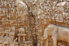Discesa della scultura di rilievo del Ganges Fotografia Stock Libera da Diritti