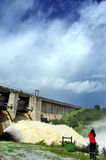 Discharge of water on  dam Stock Photography