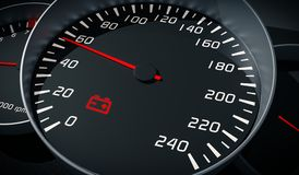 Discharged battery warning light in car dashboard. 3D rendered illustration.  Stock Photography