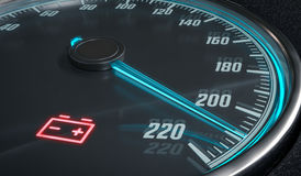 Discharged battery warning light in car dashboard. 3D rendered illustration Royalty Free Stock Image