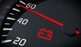 Discharged battery warning light in car dashboard. 3D rendered illustration. Close up view Stock Photo
