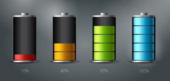 Discharged and fully charged battery smartphone - vector infographic Stock Photography
