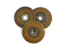 Dischi abrasivi usati isolati su fondo bianco Fotografie Stock Libere da Diritti